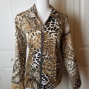 NWT Chico's Jacket 1 M 8 Zip Cheetah Print Pockets